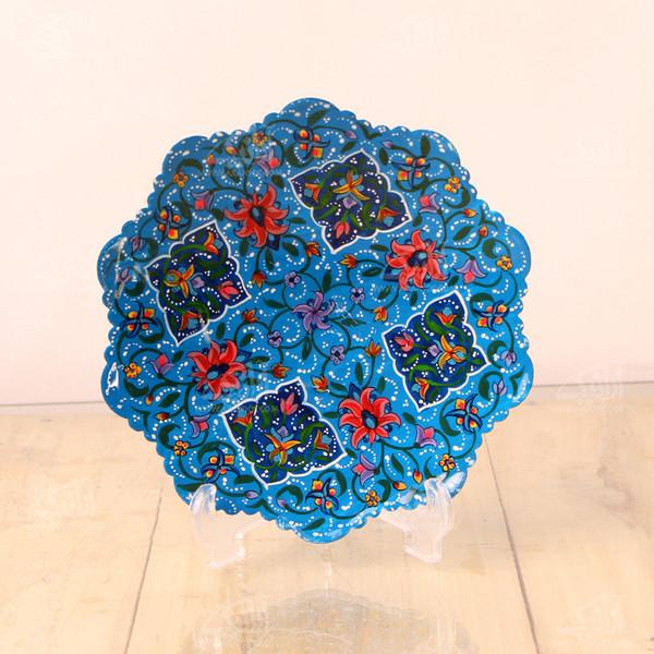 بشقاب مس و پرداز آرانیک گرد  رنگ آبی طرح شاه عباسی مدل 1000100006