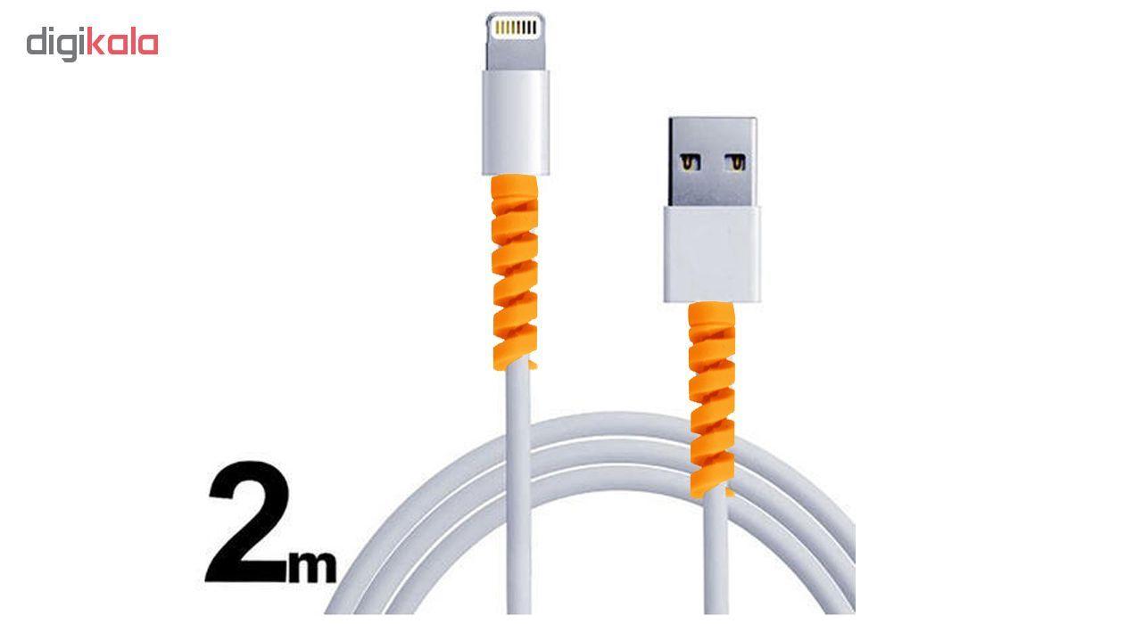 کابل شارژ آیفون USB به لایتنینگ مدل KL به طول 2 متر به همراه دو عدد محافظ کابل سیلیکونی main 1 6