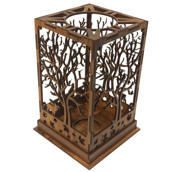 جا شمعی چوبی طرح درخت