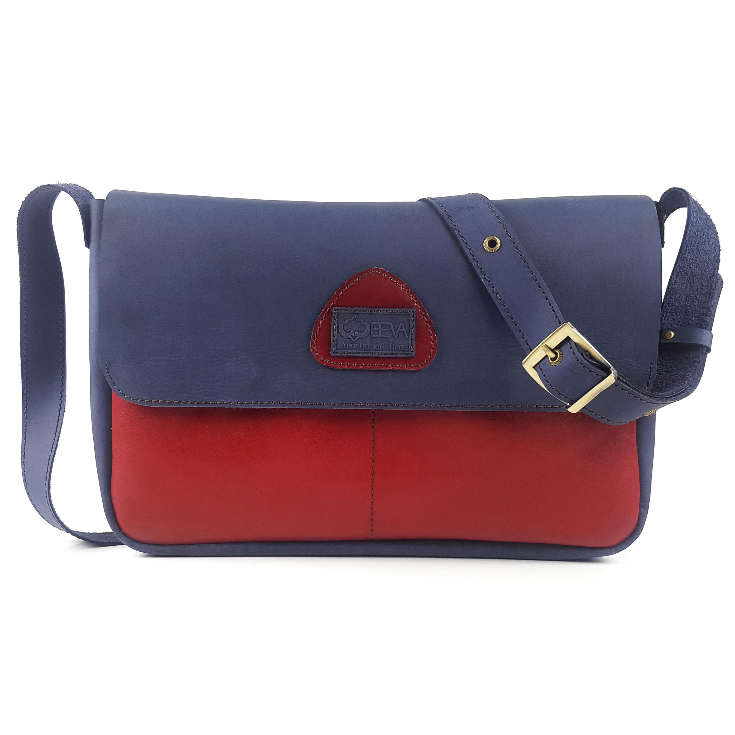 کیف رو دوشی چرم طبیعی ایوا مدل آروین سورمه ای طرح 1