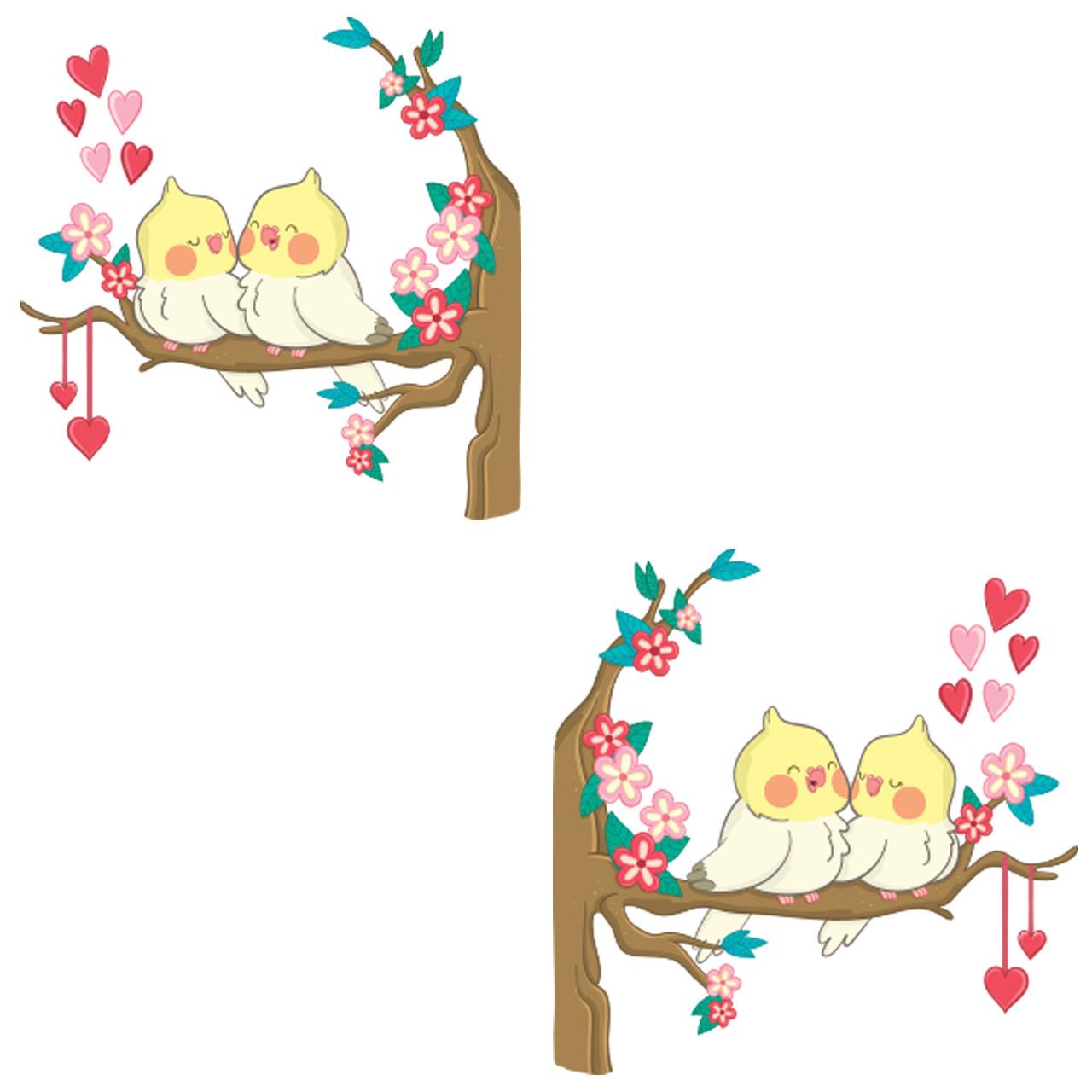 استیکر کلید پریز گراسیپا طرح پرنده های عاشق بسته ۲ عددی