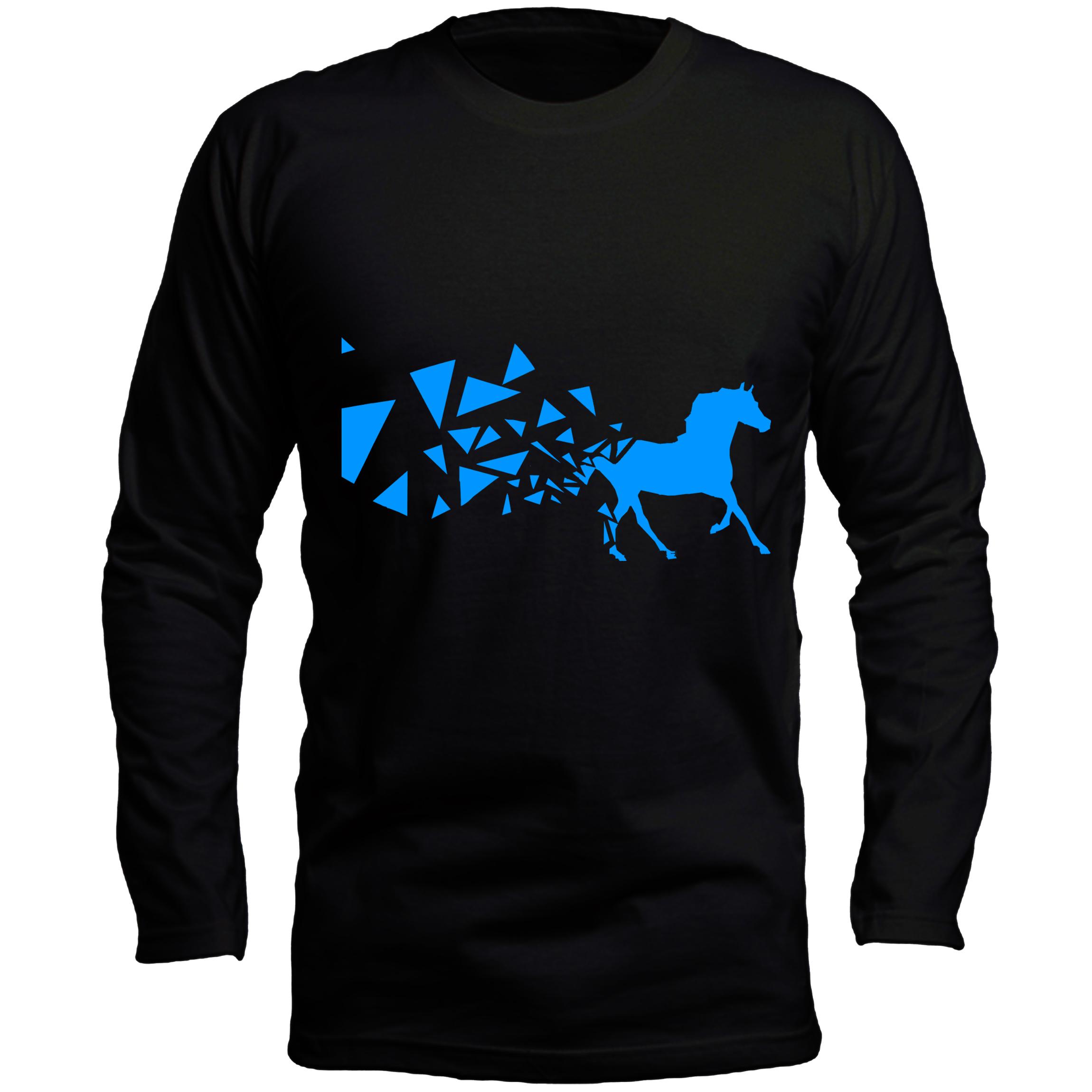 تیشرت آستین بلند مردانه طرح اسب کد LB176