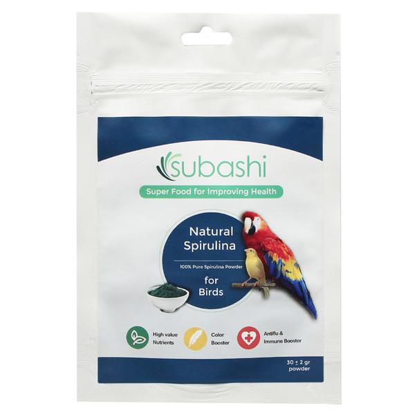 مکمل غذایی پرندگان سوباشی مدل Natural Spirulina  بسته 30 گرمی