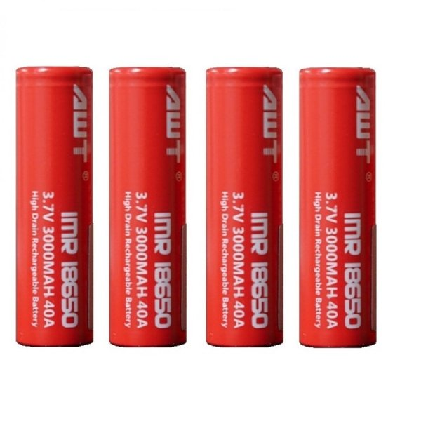 باتری لیتیوم یون قابل شارژ ای دبلیو تی کد IMR18650 ظرفیت 3000 میلی آمپرساعت بسته 4 عددی