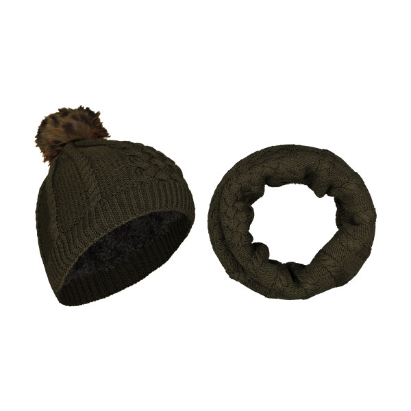 ست کلاه و شال گردن بافتنی زنانه رویا مدل 20030-54