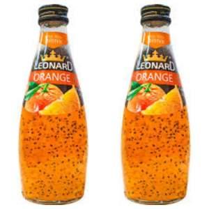 نوشیدنی لئونارد با طعم پرتقال و تخم ریحان - 600 میلی لیتر