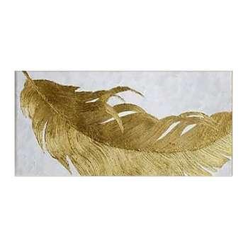 تابلو نقاشی ورق طلا طرح پر مدل 4120