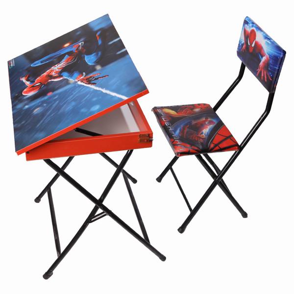 میز تحریر باکسدار و صندلی طرح مرد عنکبوتی (وایت بردی،تاشو،تنظیم شونده ارتفاع)