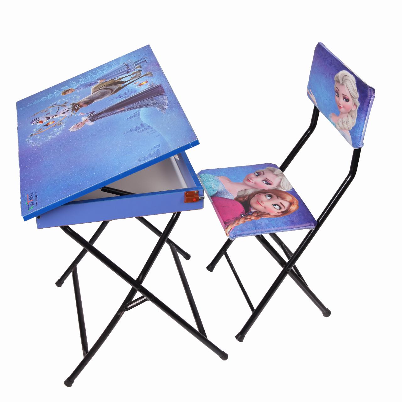 میز تحریر باکسدار و صندلی طرح فروزن (وایت بردی،تاشو،تنظیم شونده ارتفاع)