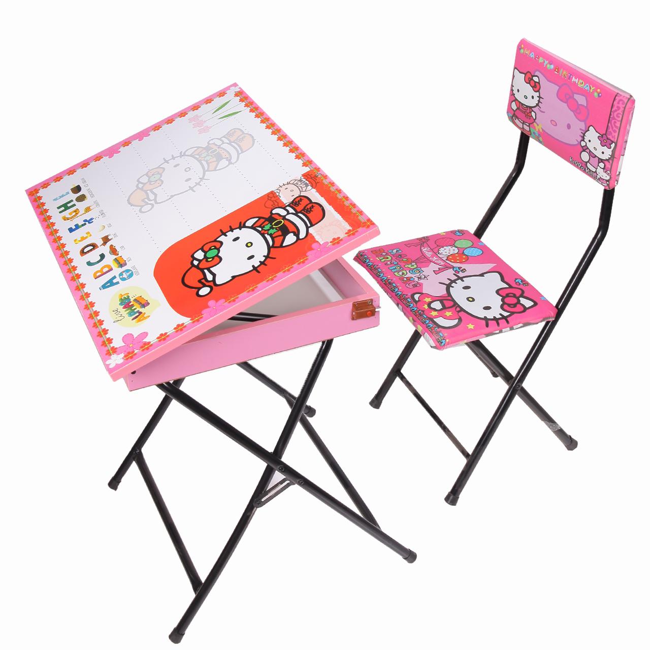 میز تحریر باکسدار و صندلی طرح کیتی (وایت بردی،تاشو،تنظیم شونده ارتفاع)