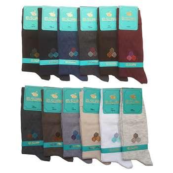 جوراب مردانه ال سون طرح لانه زنبوری کد PH30 مجموعه 12 عددی