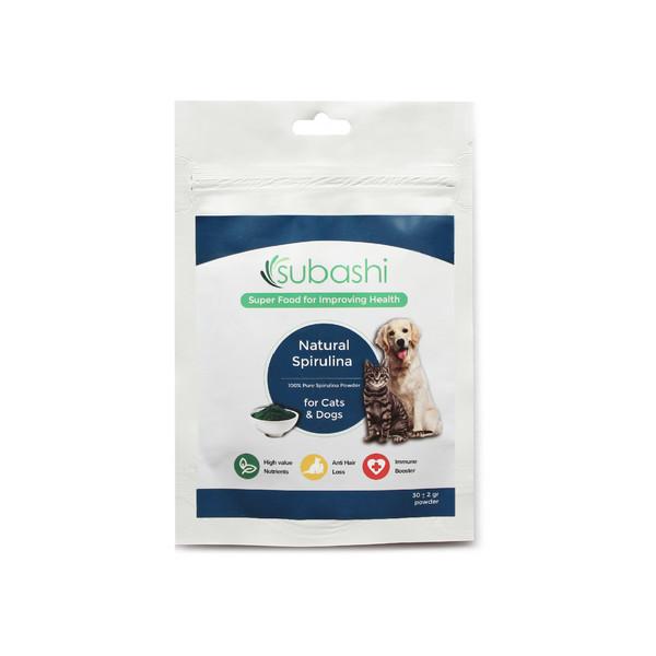 مکمل غذایی سگ و گربه سوباشی مدل Natural Spirulina بسته 30 گرمی
