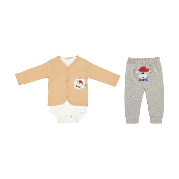 ست 3 تکه لباس نوزادی بی بی وان مدل خرس کد 473