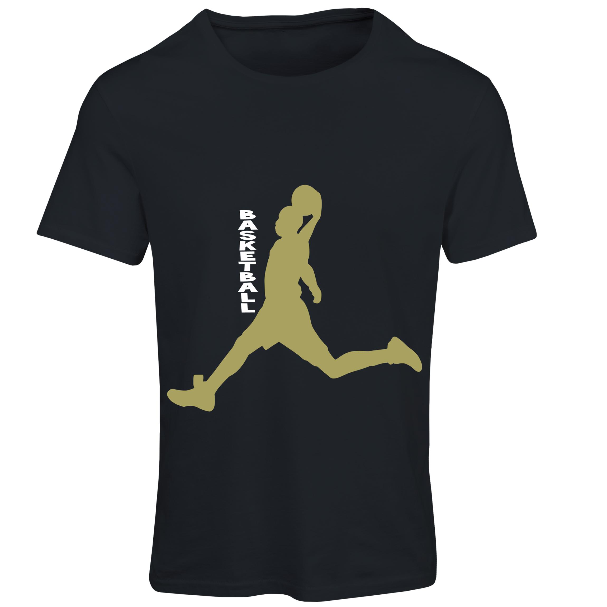 تیشرت آستین کوتاه مردانه طرح بسکتبال کد SB123 رنگ مشکی
