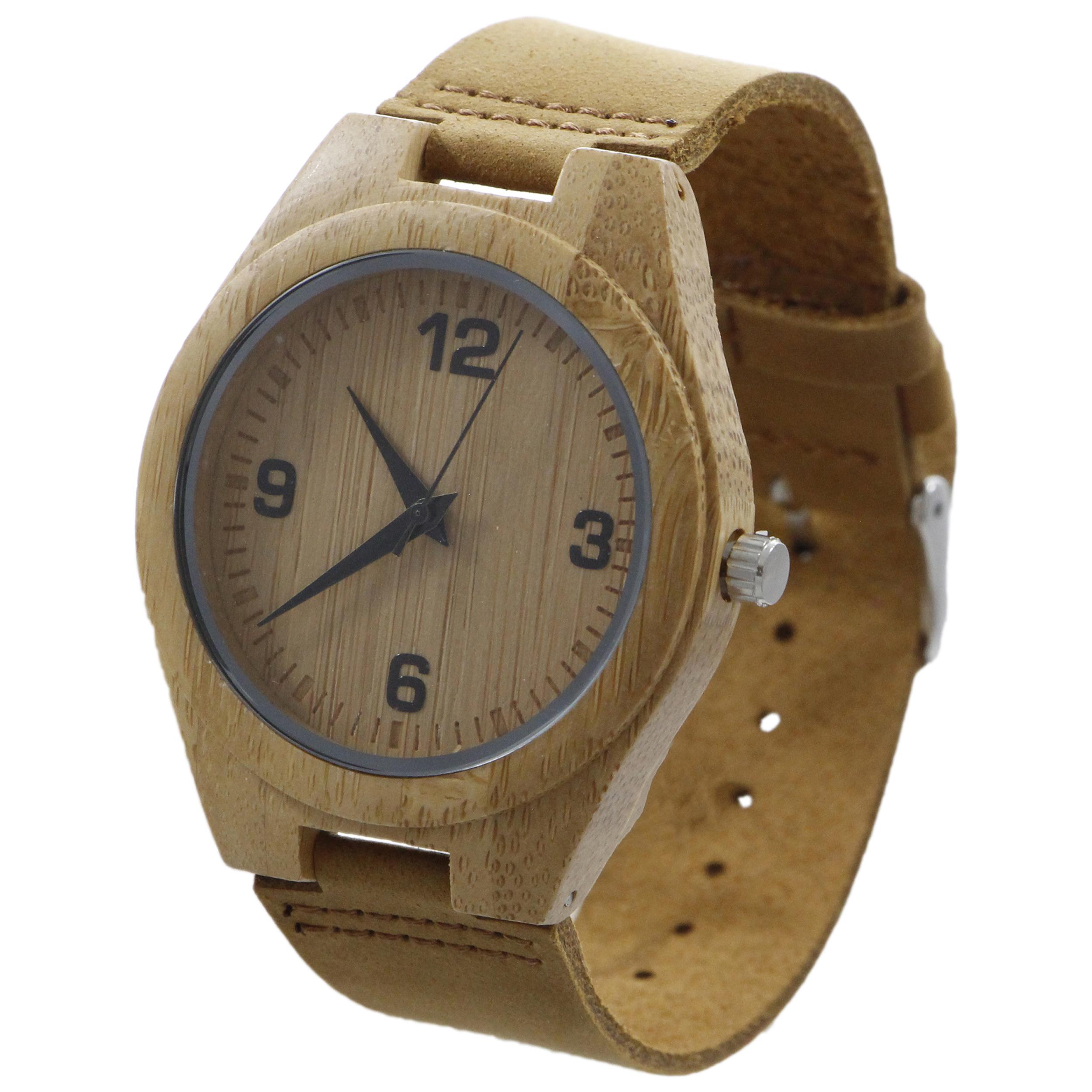 ساعت مچی چوبی عقربه ای - کد BMK12