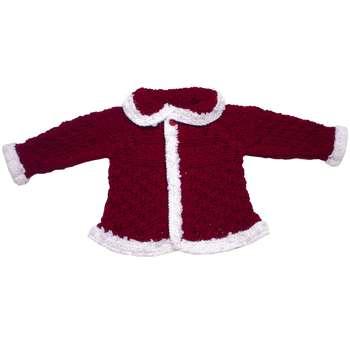 ژاکت نوزادی دخترانه گالری بافتنی های من مدل شنل قرمزی |
