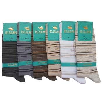 جوراب مردانه ال سون طرح رینگی کد PH41 مجموعه 6 عددی