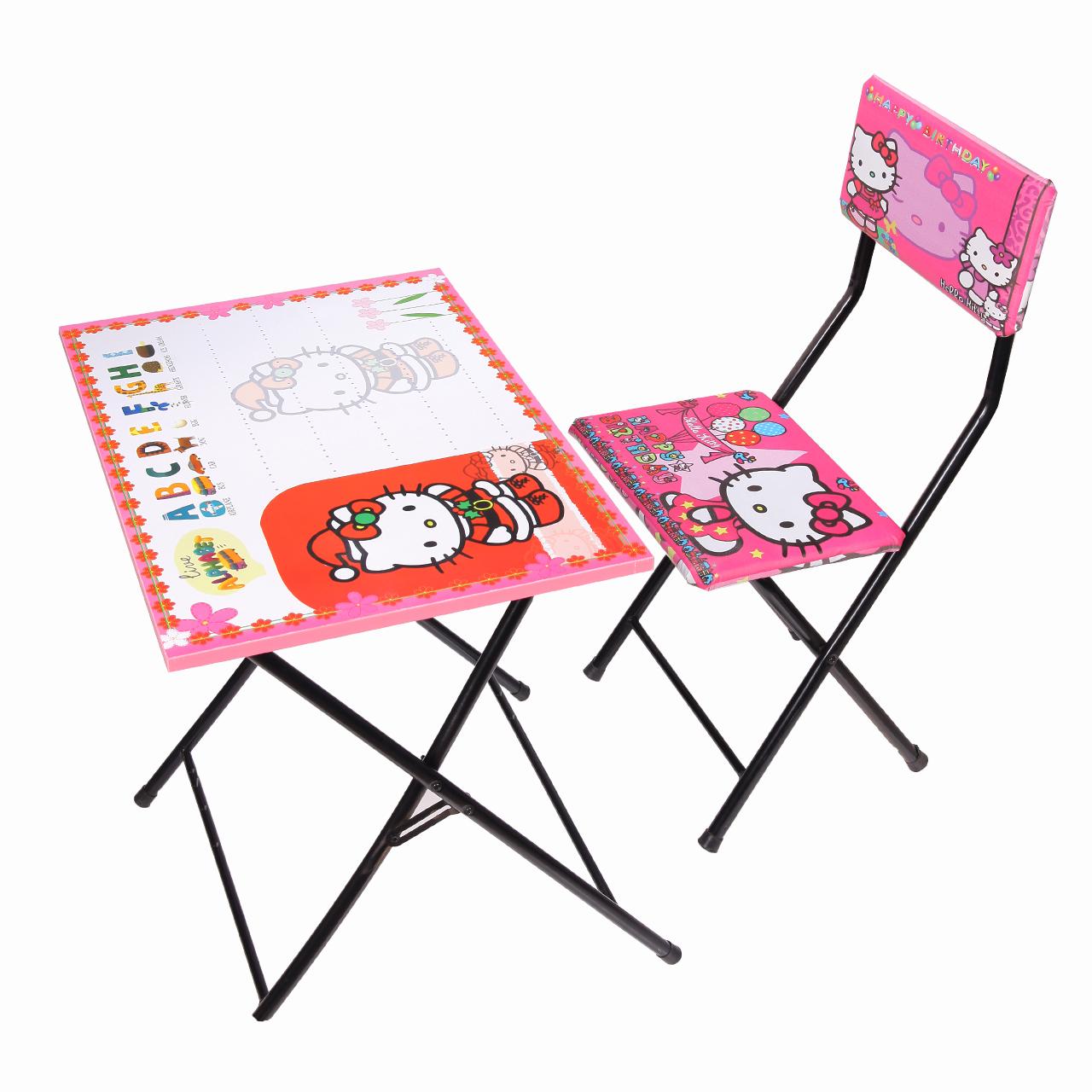 میز تحریر و صندلی طرح کیتی (وایت بردی،تاشو،تنظیم شونده ارتفاع)