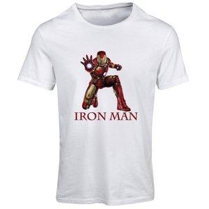 تیشرت آستین کوتاه مردانه طرح آیرون من کد SW160 رنگ سفید