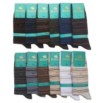 جوراب مردانه ال سون طرح رینگی کد PH42 مجموعه 12 عددی