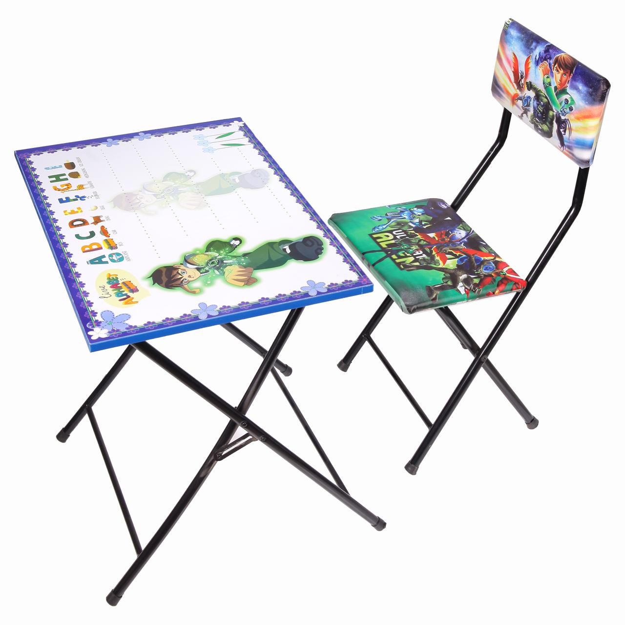 میز تحریر و صندلی طرح بن تن (وایت بردی،تاشو،تنظیم شونده ارتفاع)