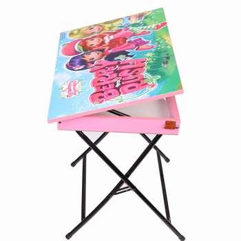 میز تحریر پایه بلند باکسدار طرح توت فرنگی (وایت بردی،تاشو،تنظیم شونده ارتفاع)