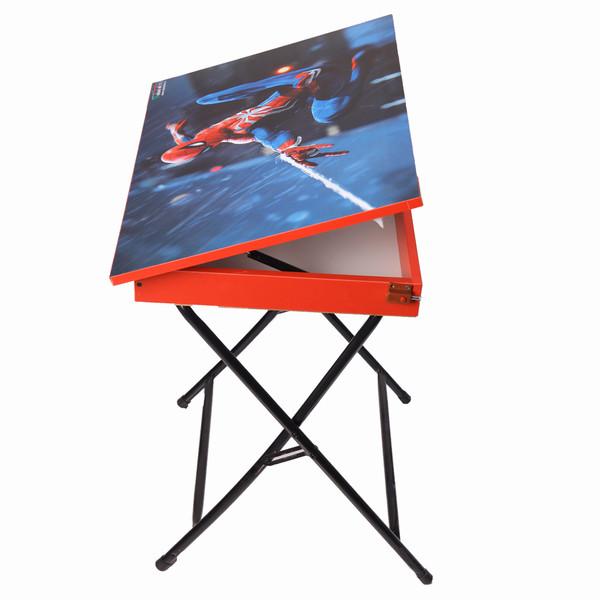 میز تحریر پایه بلند باکسدار طرح مرد عنکبوتی (وایت بردی،تاشو،تنظیم شونده ارتفاع)