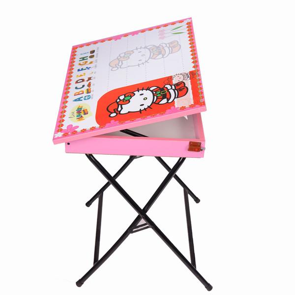 میز تحریر پایه بلند باکسدار طرح کیتی (وایت بردی،تاشو،تنظیم شونده ارتفاع)