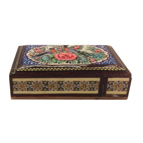 جعبه خاتم لوح هنر طرح گل و پرنده کد 1023
