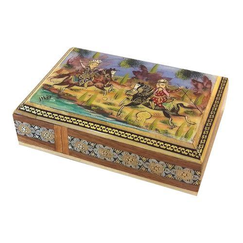 جعبه خاتم لوح هنر طرح چوگان کد 1024