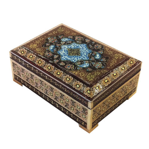 جعبه خاتم لوح هنر طرح گل کد 1031