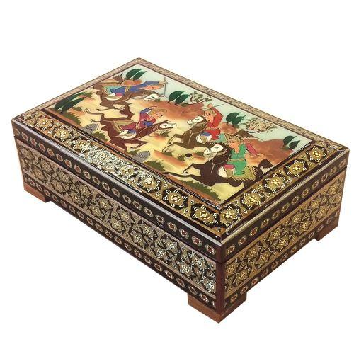 جعبه خاتم لوح هنر طرح چوگان کد 1032