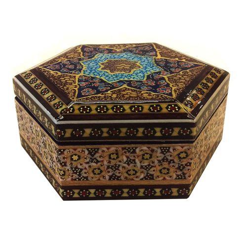 جعبه شش ضلعی خاتم لوح هنر طرح هندسی کد 1034