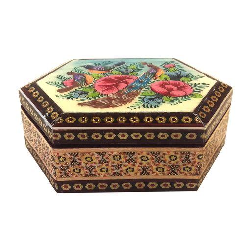جعبه شش ضلعی خاتم لوح هنر طرح گل و پرنده کد 1035