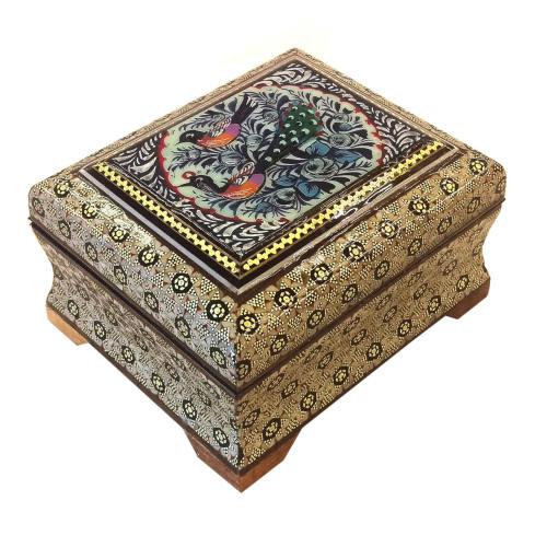 جعبه چهارضلعی خاتم لوح هنر طرح گل و پرنده  کد 1036
