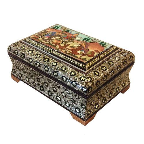 جعبه چهارضلعی خاتم لوح هنر طرح چوگان کد 1037