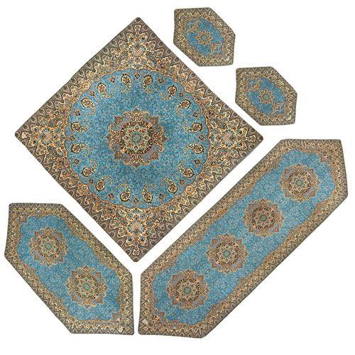رومیزی ترمه خانه ترمه ایران طرح نسترن آبی تار سفید مجموعه 5 عددی