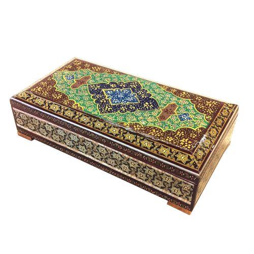 جعبه خاتم لوح هنر طرح هندسی کد 1044
