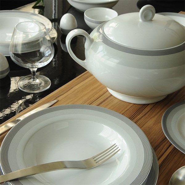 سرویس چینی 28 پارچه غذا خوری چینی زرین ایران سری ایتالیا اف مدل سیلور لاینر درجه عالی