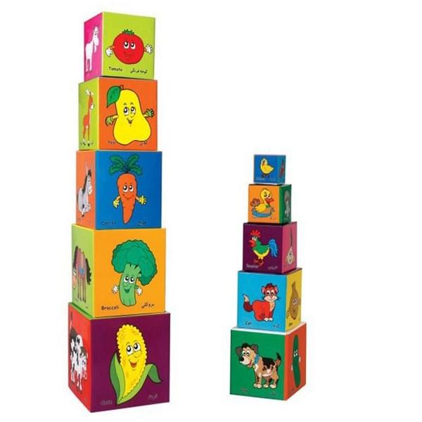 برج مکعب مدل حیوانات و میوه ها مجموعه 10 عددی