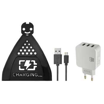 پایه نگهدارنده شارژر موبایل مدل Hng 0229 به همراه شارژر دیواری و کابل تبدیل USB به لایتنینگ/microUSB