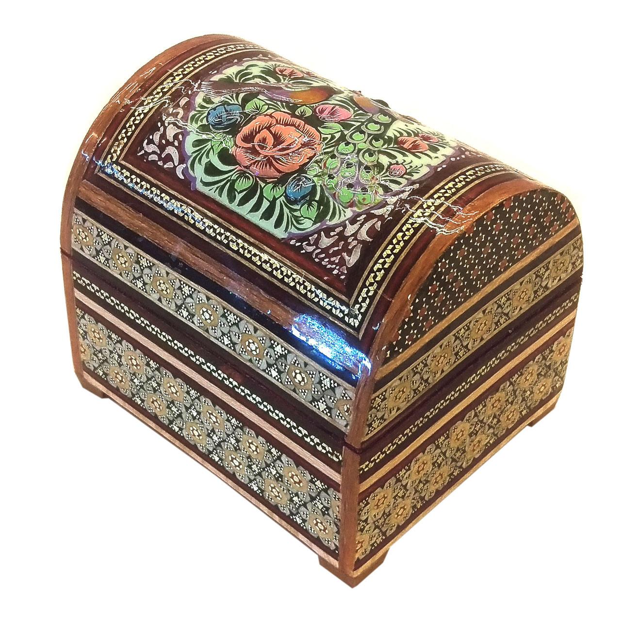 خرید                      صندوقچه خاتم لوح هنر طرح گل و پرنده کد 1048