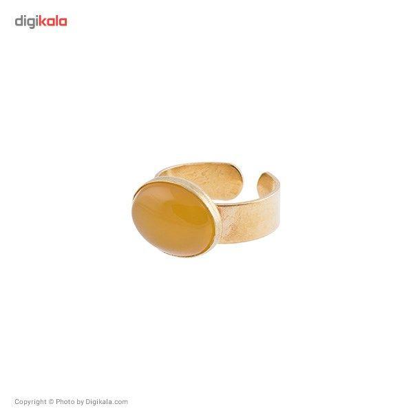 انگشتر ناردونه قاب دار برنج زرد صفوی کوچک -  - 1