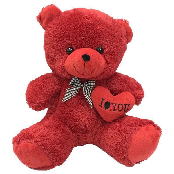 عروسک مدل خرس عاشق قلب بدستXL ارتفاع30سانتی متر