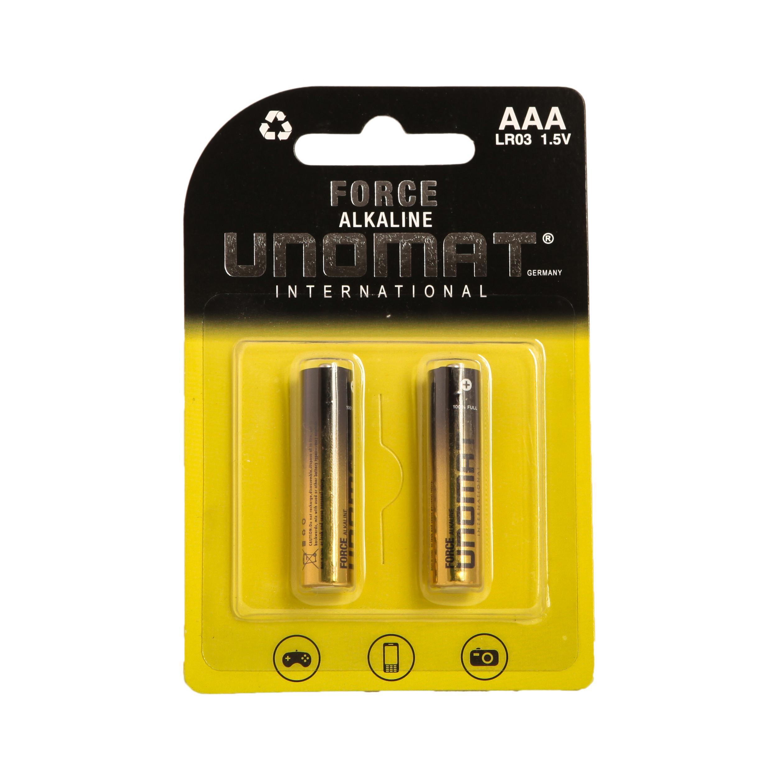 باتری نیم قلمی یونومات مدل Force Alkalaine بسته 2 عددی