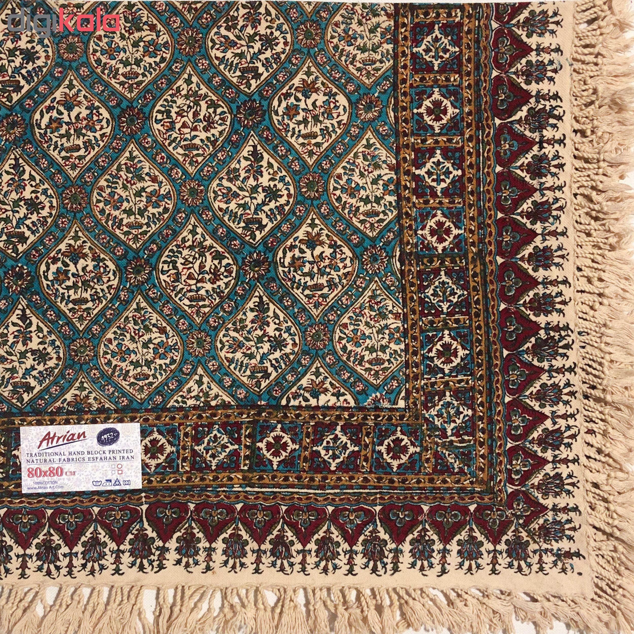 خرید                      رومیزی قلمکار ممتاز اصفهان اثر عطريان طرح حصیری مدل G114 سایز ۸۰*۸۰ سانتی متر