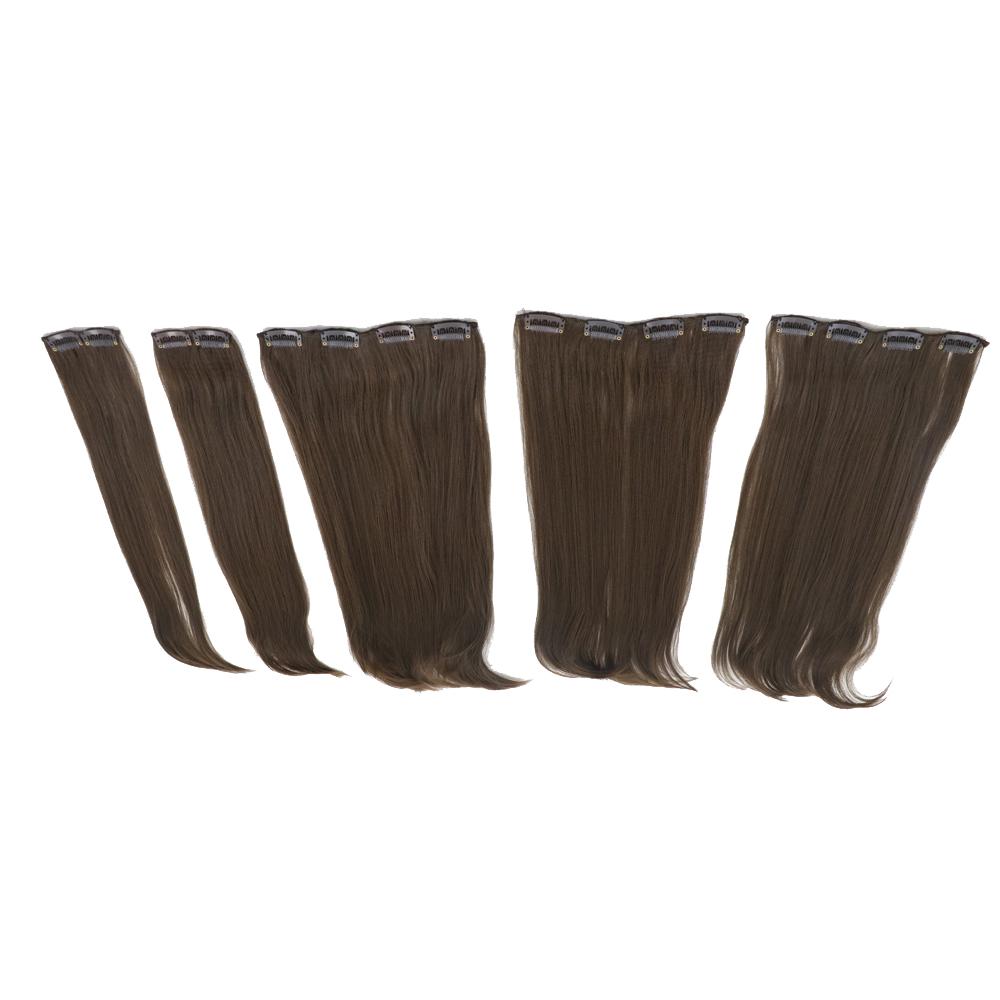 اکستنشن مو صاف و اتو کشیده رنگ قهوه ای طبیعی  کد stw20c-6