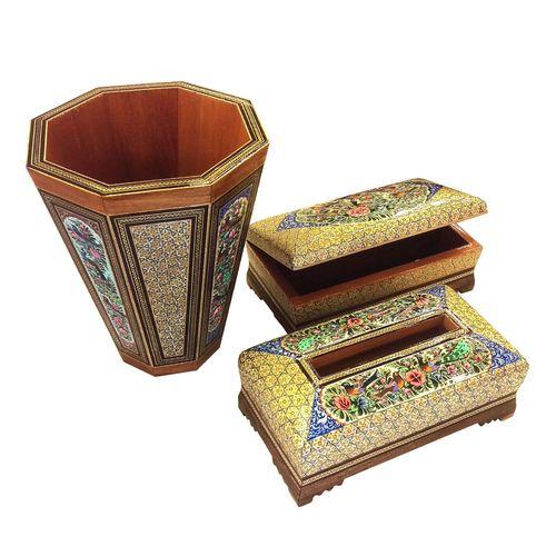 ست سطل و جعبه دستمال و جاکاردی خاتم لوح هنر کد 1065