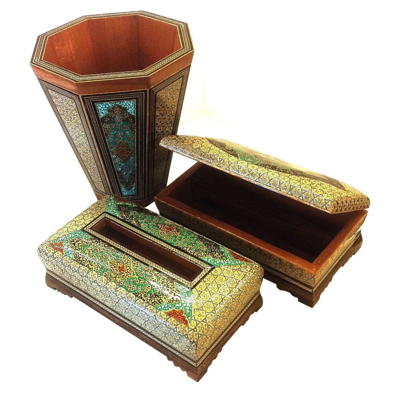 ست سطل و جعبه دستمال و جاکاردی خاتم لوح هنر کد 1067