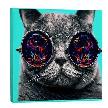 تابلو بوم فلوریزا طرح گربه و عینک دودی کد 006